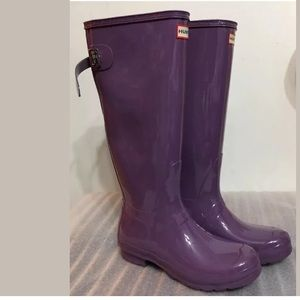 New Hunter Women Tall Rain Boot Glossy Purple 5